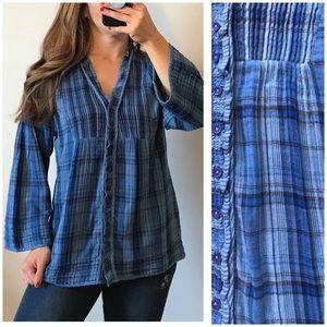 SUNDANCE Blue Wide Sleeve Plaid Button Up Shirt L